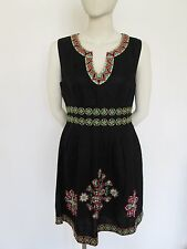 Warehouse Black linen dress with green/pink embroydered design size14 NEW