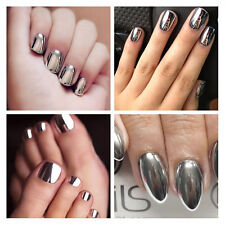 Hot 2× Mirror Effect Chrome Metallic Silver Nail Art Varnish Polish & Base Coats