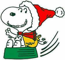 "Snoopy Santa Holiday Christmas Winter Printed Color Car Decal Sticker 6""x5.5"""