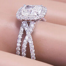 14k White Gold Cushion Forever One Moissanite Diamond Engagement Ring Band 2.50c