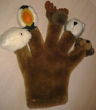 "Animal Hand Puppet Bear Bird moose Wolf Bear 12"" Plush"