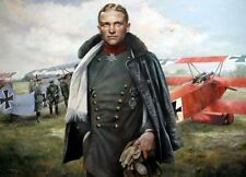 WW1 Aviation Art Post Card Baron Von Richthofen red baron Fokker DR.1 Triplane