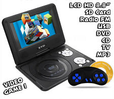 "LETTORE DVD PORTATILE 8.8"" POLLICI LCD HD DVIX TV VIDEO CD MP3 MP4 USB SD GAME"