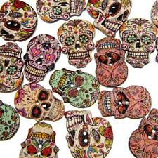 Sugar Scull Decorative Buttons, 25mm x 18mm, Wooden, 2 Holes - Craft / Sewing