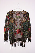 Vintage brown peacock Silk velvet Devore 70s fringe long scarf jacket kimono S M
