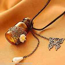 Womens Sexy Butterfly Pearls Wishing Bottle Pendant Long Sweater Necklace Chain