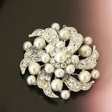 Cream Faux Pearl & Diamante Rhinestone Crystal Sparkly Leaf & Flower  Brooch