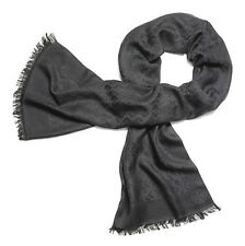 TORY BURCH Large Solid Jacquard Oblong Scarf Grey Silk/Cotton & Extra 32830 004