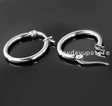 Fashion Small Thin Round Hoop Silver 316L Stainless Steel Women Earrings