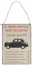 Vintage VEHICLE SAFETY Vintage Metal Sign BLECHSCHILD / Wanddeko Rockabilly