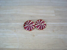 "Ruby RED Enameled/ Gold Metal 1"" Round Suit/ Dress Buttons TWO (2) NEW"