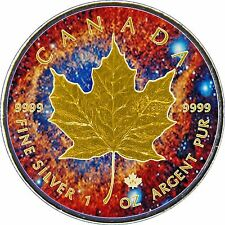 2017 1oz .999 Canadian  Maple Leaf,Nebula Background & 24k Gold Gilded