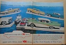 1958 two page magazine ad for Ford - Edsel Corsair, Thunderbird, Fairlane Town V