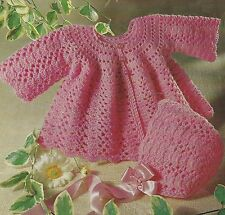"Baby Lace Coat and Bonnet Crochet Pattern 19-20""  4ply 746"