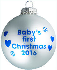 Baby's First Christmas 2016 - Silver Christmas Tree Bauble - 1st Xmas Gift