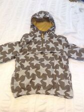 Mini Boden Boys Grey Blue Star Rain Spring Coat Lined Jacket Age 7-8