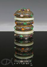 OLD CHINESE ENAMELED SILVER COVERED BOX WITH INSET CABOCHONS AND JADE BANGLES