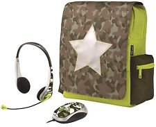 NEW TRUST 16886 COMBAT SCHOOL BAG BACKPACK WITH MATCHING MOUSE & HEADSET