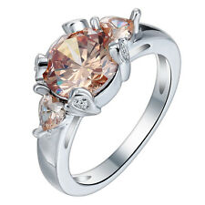 Fashion Women champagne Topaz 925 Silver Ring Engagement Wedding Jewelry Size 9