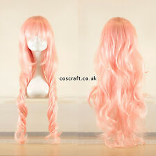80cm long wavy curly cosplay wig in baby soft pink, UK seller, Jeri style
