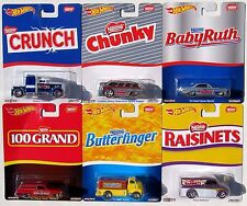 HOT WHEELS NOSTALGIA SET OF 6 CANDY NESTLE CRUNCH RAISINETS BABYRUTH CHUNKY A
