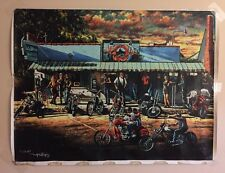 Vtg. Harley Beach Bar Motorcycle Gang Oil Canvas Painting Signed By TOM PHILLIPS