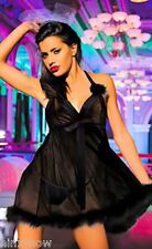 Black SHEER Flowing Babydoll Marabou trim Lingerie Chemise Negligee Fits 10-12