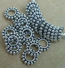 25 Silver Bumpy Daisy Thin Circle Spacer Rings Beads fit European Charm Bracelet