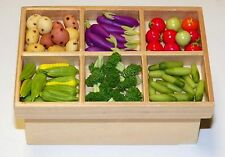 Dollhouse Miniatures Combo  Fruit & Vegetables in Wooden Stand , Stall, Set 2