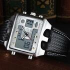 Ohsen Men's Waterproof Leather Alarm Date Digital Analog Army Sport Wrist Watch