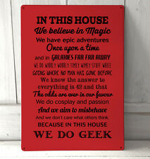 In this house We Do Geek Quote Red sign A4 metal Sign