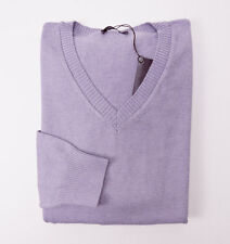 NWT $535 BALLANTYNE Solid Lavender Cotton-Cashmere Sweater M V-Neck Italy