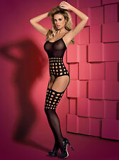 Sexy Obsessive bodystocking decorated with a round notch black XL/XXL,UK (14-16)