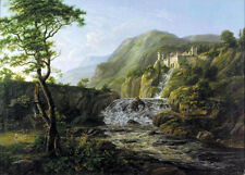 Beautiful Oil painting Johan Christian Dahl - Mountain Landscape with a Castle