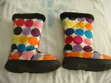 size 6 m ladies boots colorful dots cotton outside genuine shearling lining