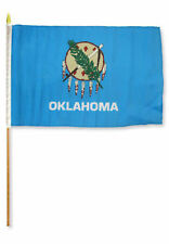"12x18 12""x18"" State of Oklahoma Stick Flag wood 30 inch Staff"