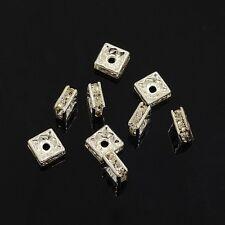 12 Perles Intercalaires carrées 6 x 6mm en métal argenté et Strass SANS NICKEL