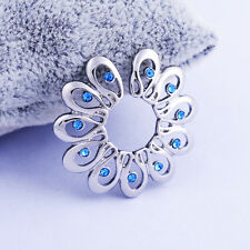 1 Peacock Blue Crystal Non-piercing Clip On Nipple Shield Ring Barbell Bar