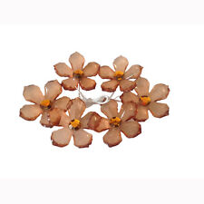 "12 acrylic flower applique embellishment crystal like plastic bead 1.75"" brown"