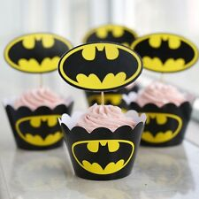 48 Pcs Set, 24 Batman Cupcake Wrappers & 24 Toppers Kids Birthday Party Supply