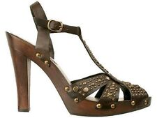 "MIA ""Passion"" Brown Leather Studded Ankle Strap High Heel Sandal - Size 8M"