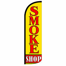 SMOKE SHOP Windless Swooper Feather Flag Tall Banner Sign 3' Wide  RED YELLOW