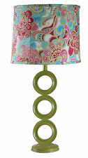 "Lime Circle Lamp with Matching Floral Shades,  29""H"