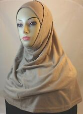 New Two Piece Egyptian Cotton Hijab Amira Islamic Head Scarf Hejab - Beige / Tan
