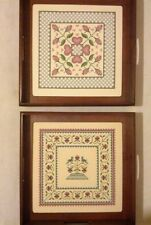 """Vintage Pair Framed Finished Needlepoint Art 12""""x 12"""" Sudberry House"""