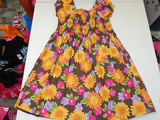 GYMBOREE  SUNFLOWER SMILES FLORAL SMOCKED COTTON DRESS  SZ   8  EUC