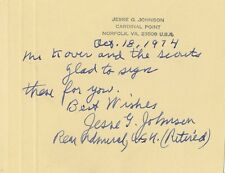Rear Admiral JESSE G. JOHNSON Autograph Note Signed