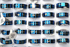 18pcs Mix Blue Stainless Steel Fashion Mens Rings Wholesale Lots FREE