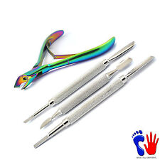Nail Art Cuticle Spoon Pusher Toe Trimmer Plier Cutter Manicure Pedicure Clipper