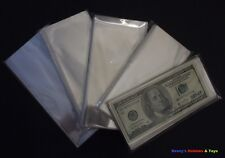 100 Paper money / Banknotes Transparent Protective Soft Sleeves - 8.5cm x 17.5cm